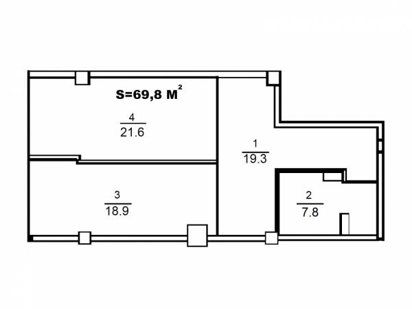 Планировки однокомнатных квартир 69.8 м^2